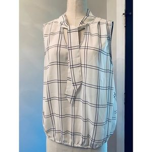 Sleeveless Checkered Blouse with Neck Tie!
